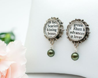 Gone with the Wind - Literary Pearl Drop Earrings – Romantic Gifts for Book Lovers / Classic Movie Lovers