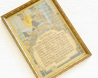 Vintage Romantic Home French Blue, Iridescent Gold, and Amber Orange Framed Tribute to Mother, Olives and Doves