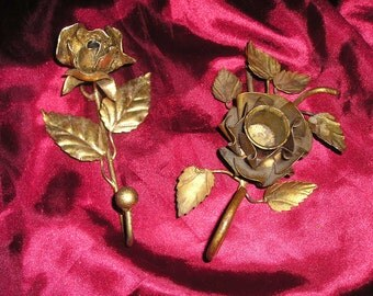 Vintage PR. Italian Tole Gold Gilt Rose Hook and Rose Candle Holder/Stick Shabby Chic Fabulous..