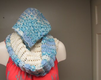 Nice Crochet  Set - Multicolored Winter Scarf and Beanie Hat