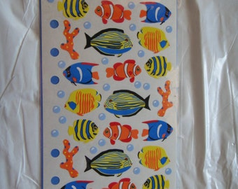 Fish Stickers Supplies Tropical Fish Blue Fish Orange Fish Yellow Fish Scrapbook card making stickers