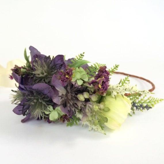 Floral Halo Rustic Wedding Headpiece Whimsical Bridal Halo Fern