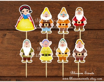 Snow white and Dwarfs Cupcake toppers.