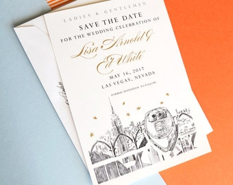 New York Empire State Building Skyline Hand Drawn Save the Date Cards (set of 25 cards)