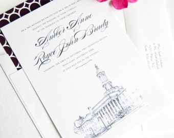 Penn State Skyline Hand Drawn Wedding Invitations Package (Sold in Sets of 10 Invitations, RSVP Cards + Envelopes)