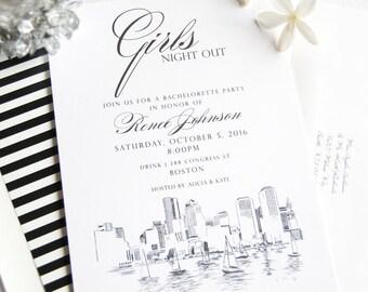 Boston Skyline Hand Drawn Bachelorette Party Invitations (set of 25 cards)