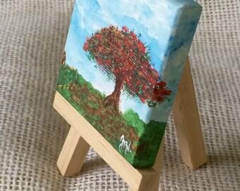 Flamboyant Original Acrylic Small Painting Landscape Miniature Painting