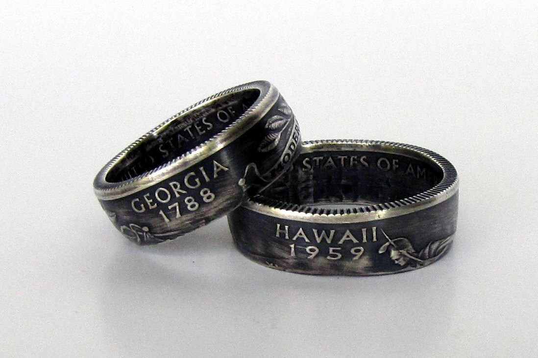 state quarter coin rings silver choose your state by