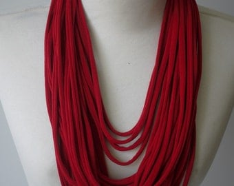 Upcycled t-shirt scarf: Hot red [346]