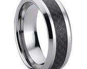 Tungsten Ring With Black Carbon Fiber FREE SHIPPING