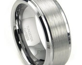 Mens Tungsten Carbide Wedding Band Raised Brushed  FREE SHIPPING