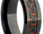 Black Tungsten Ring With Red Carbon Fiber Inlay Free Shipping