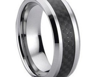 Black Carbon Fiber Tungsten Ring FREE SHIPPING