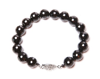 Faceted Onyx and 925 Sterling Silver Bracelet