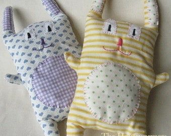 Hippity and Hoppity - Hand Sewn Stuffed Fabric Cuddly Bunny Rabbit Toys