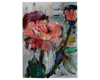 Giclee Fine Art Print - Pink Rose - Impressionist Art,  Miniature Oil Painting Floral Still Life, Roses Flower Kitchen Original Artwork