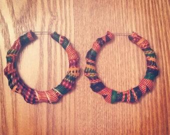 Kente Cloth Hoop Earrings