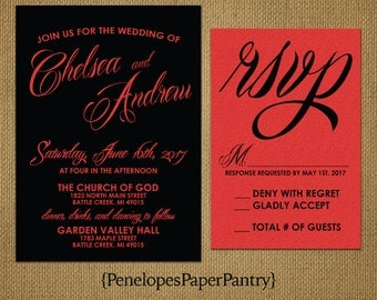 Black and Red Shimmery Wedding Invitations,Elegan,Cursive Font,Red Shimmery Paper,Opt RSVP,Customizable,With Black Envelopes,5x7.