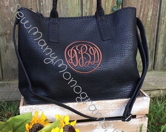 Monogrammed black pebbled Daire tote/purse/womens handbag