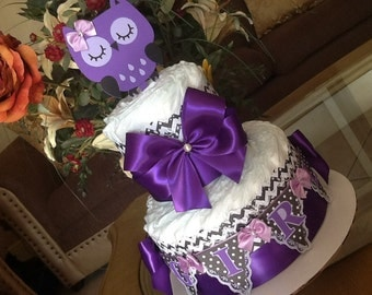 Owl diaper cake/Owl ba y shower centerpiece/Purple and black diaper cake/Girl diaper cake