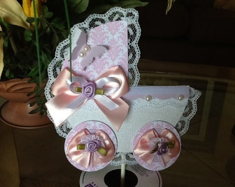 Carriage cake topper/Baby girl baby shower cake topper/Pink and white carriage cake topper/Elegant baby shower cake topper