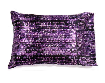Purple and Black Sequin Looking Accent Pillow. Decorative Pillow for the Bedroom. Contemporary Sofa Nap Pillow. Travel Pillow Pillowcase.