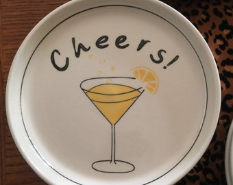 Set of 8 CHEERS snack  appetizer plates  4 colors.