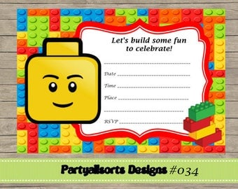 lego birthday party | etsy, Party invitations