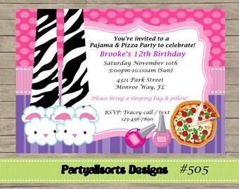 DIY - Pajama and Pizza Sleepover/ Slumber Party Invitations