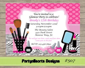 DIY - Glamour/ Pamper Party Invitations