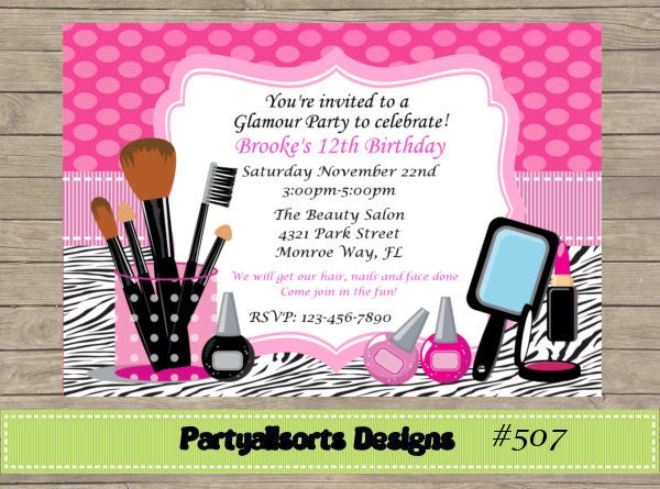 DIY Glamour Pamper Party Invitations – Pamper Party Invites