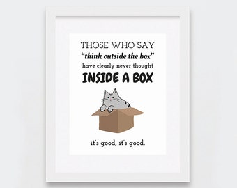 Cat in Box Typographic Art Printable, Funny Cat Print for Crazy Cat Ladies, Black and White Cat Print, Instant Download, Cat Illustration