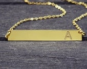 Bridesmaids Gift Gold Bar Necklace-Engraved Horizontal bar pendant-Bridesmaid Gift-Personalized-Graduation Gold Bar Necklace--Nameplate bar-