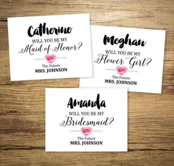 Custom Will You Be My Bridesmaid Flower Girl Maid of Honor – Party Proposal