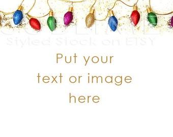 Christmas Styled Stock / Christmas Stock / Christmas Background / Christmas Mock Up / Christmas Lights / Christmas Photo / StockStyle-544