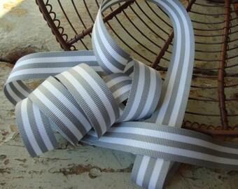 2 Yards - Grey and White Stripe Grosgrain Ribbon