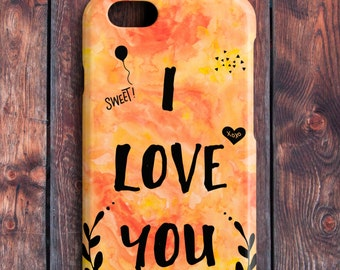 I Love You Cover for iPhone Smartphone, Watercolor Series