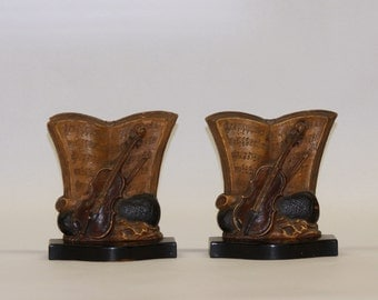 Syroco Wood (Syracuse Ornamental Company) Molded Wood-Pulp Violin and Sheet Music Bookends