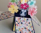 Handmade Owl pop up card, Happy Birthday Card, New Home card, Congratulations Card, Get Well Soon card