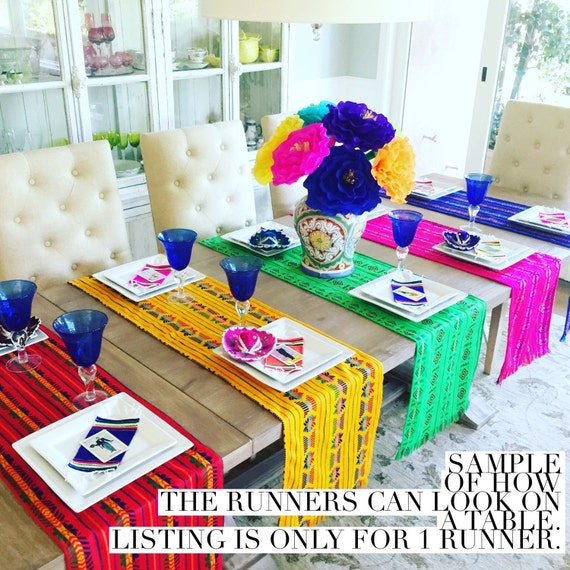 Mexican Fabric Table Runner, Napkins Or Tablecloth. Colorful Pink, Tribal  Bohemian Decor, Fiesta Party Supplies, Serape Southwestern Blanket