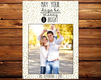 Holiday Photo Card, Custom Family Christmas Photo Card // Gold Merry & Bright