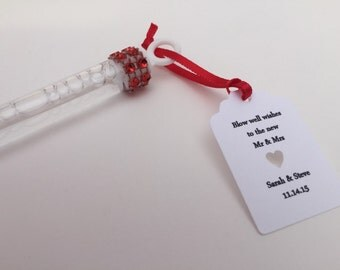 Wedding Bubble Wands: 50+ Wedding Favors/ Wedding Bubbles, Red Wedding Bubbles