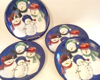 Holiday Christmas Blue Snowman Dinner Plates Platter - Celebration Tableware Dinnerware Serving Tray - Set of 4