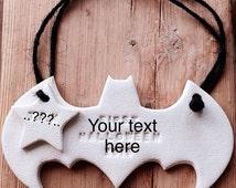 Custom batman hanging decoration in white clay with personalised tag ~ nursery decor ~ nursery decoration ~ batman ~ baby gift ~ superhero