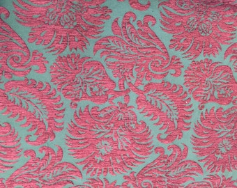 """Dark Red Floral Chenille Cut Upholstery Fabric - BTY - 56"""""""