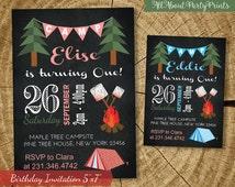 Camping birthday party Invitation card printable -Kid birthday party invite