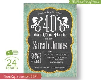 Adult Birthday Invitation -Digital file -5x7- Printable invitation -Chalkboard/damask