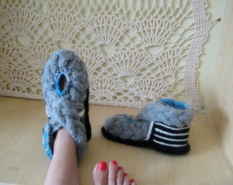 Woman Slippers, Crochet Slippers, Wool Slippers, Warm Slippers, Home Shoes, Teen gifts, gift for girlfriend, Hippie Slippers