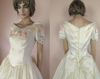 Vintage wedding Dress 90's – Bridal gown from 1990s - Organza dress - Romantic dress