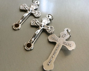 Lot of 3  Rosary cross JERUSALEM soil Jesus crucifix Oxidized Silver Cross Rosary Cross